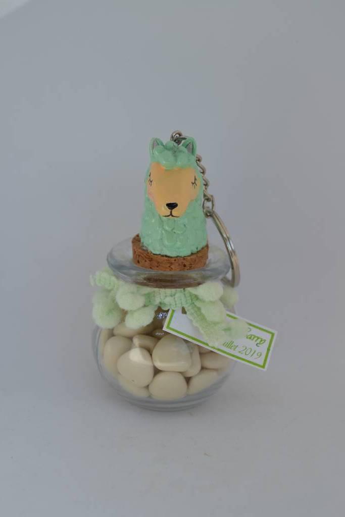 Pot rond en verre à dragée thème lama le festival de la dragée