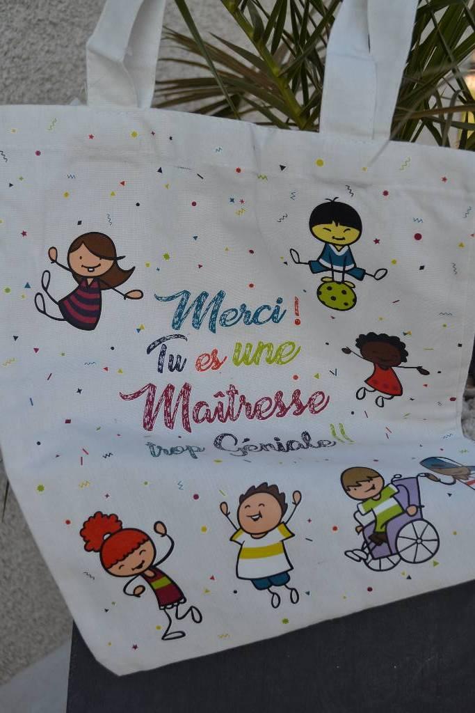 sac coton personnalisé maitresse festival de la dragée