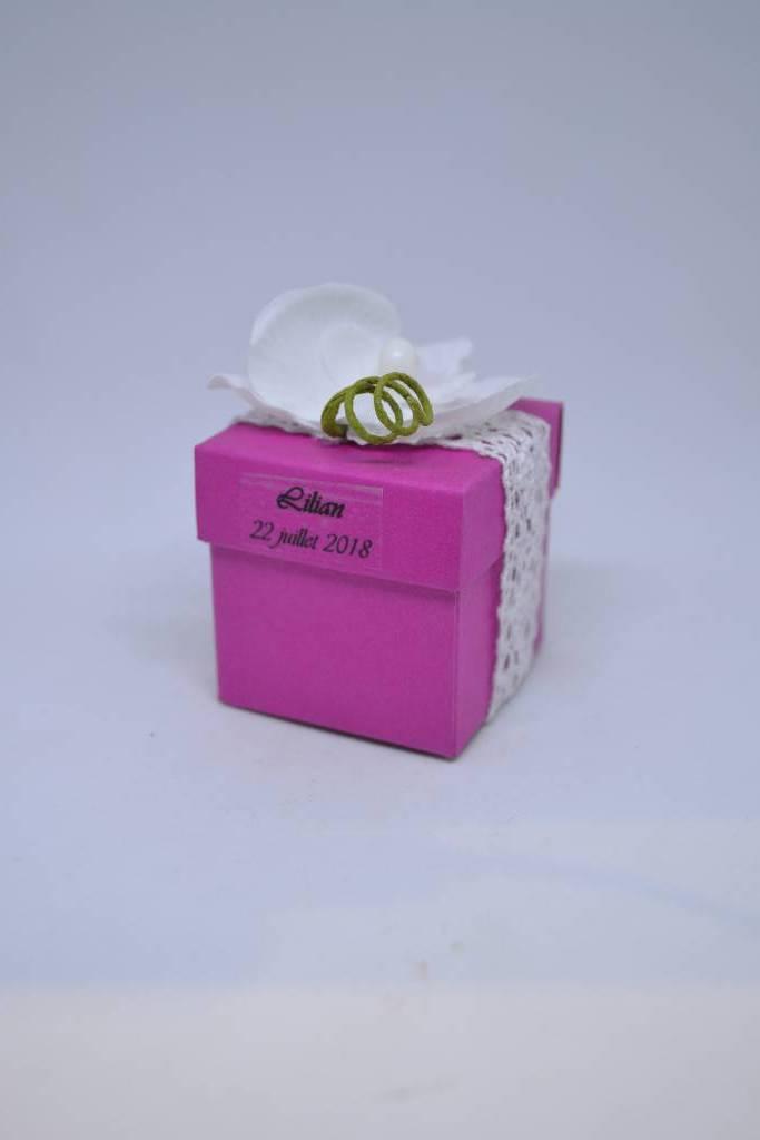 MIni cube à dragée orchidée le festival de la dragée