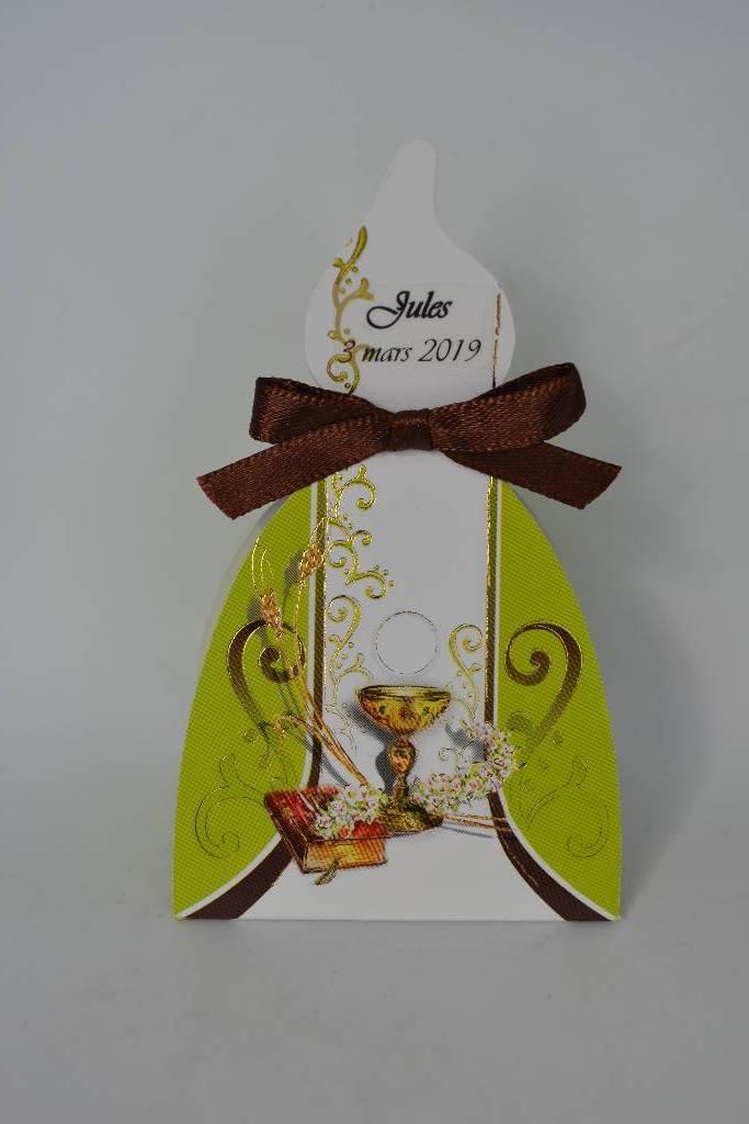Ballotin à dragée avec le dessin de la communion le festival de la dragée