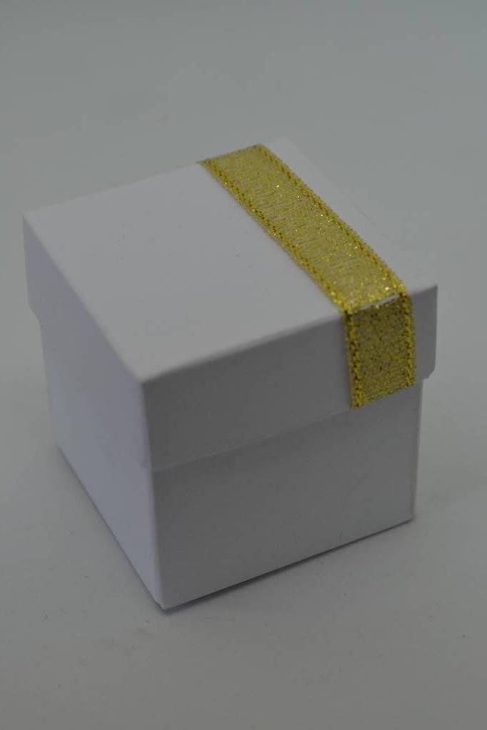 ballotin à dragée mini cube blanc et or festival de la dragée