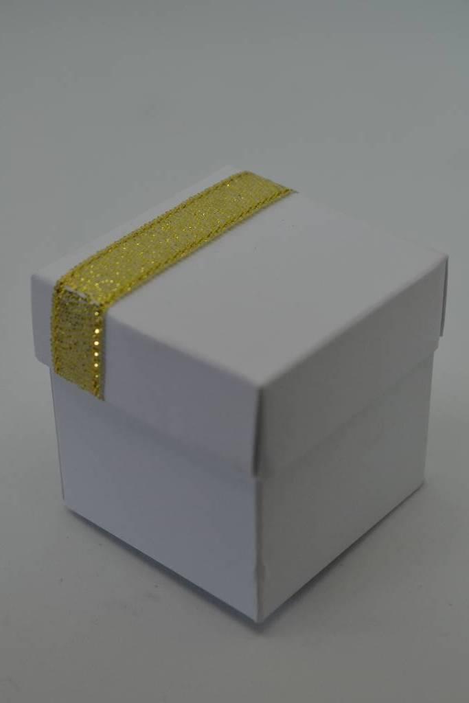 Mini cube à dragée blanc et or festival de la dragée