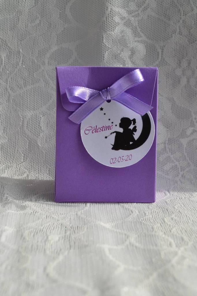 pochon à dragée violet thème fée le festival de la dragée