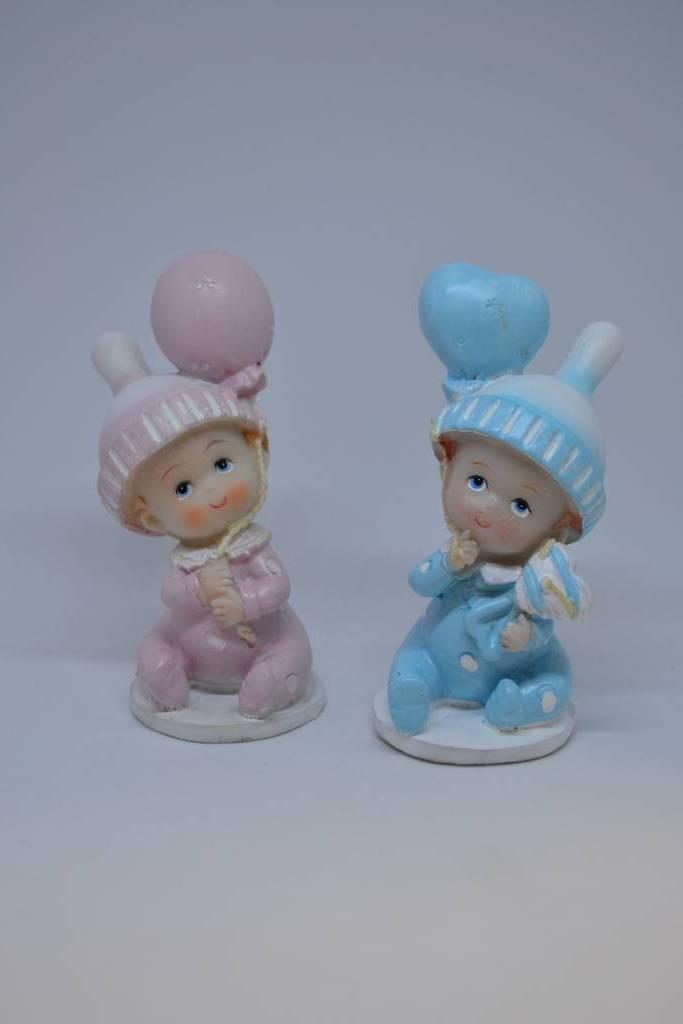 Figurine de baptême bébé balon bleu ou rose festival de la dragée
