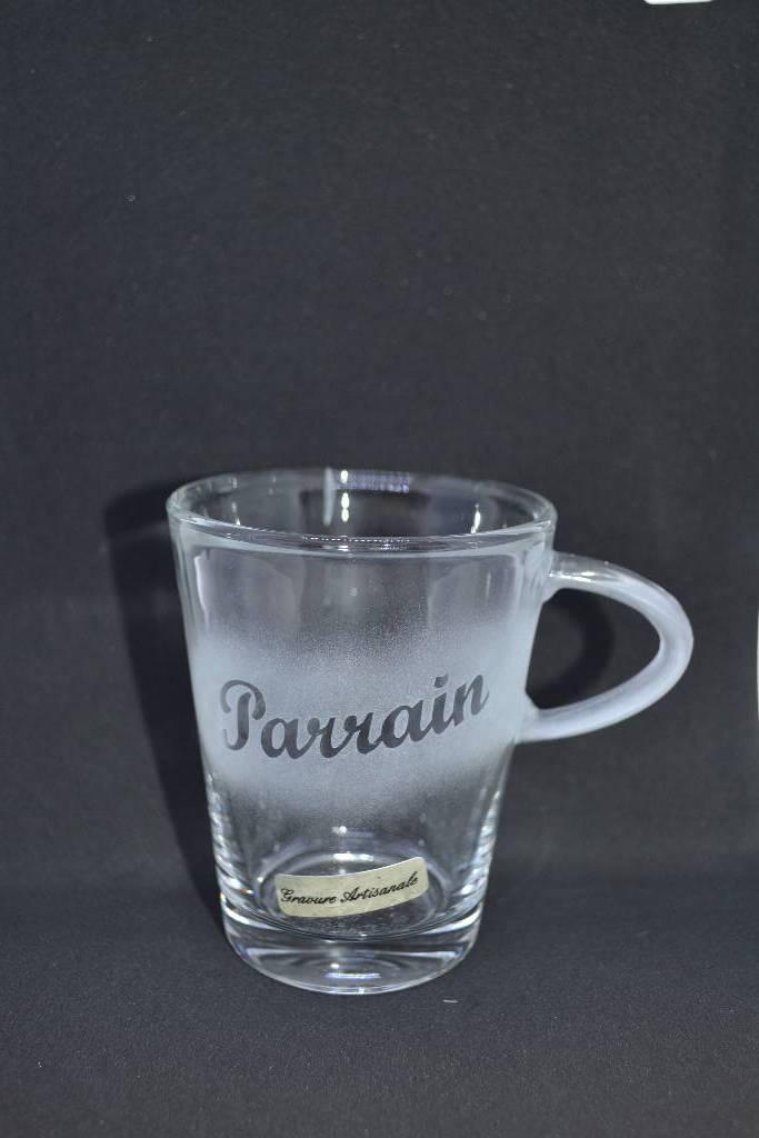 Tasse à café en verre inscrite parrain festival de la dragée
