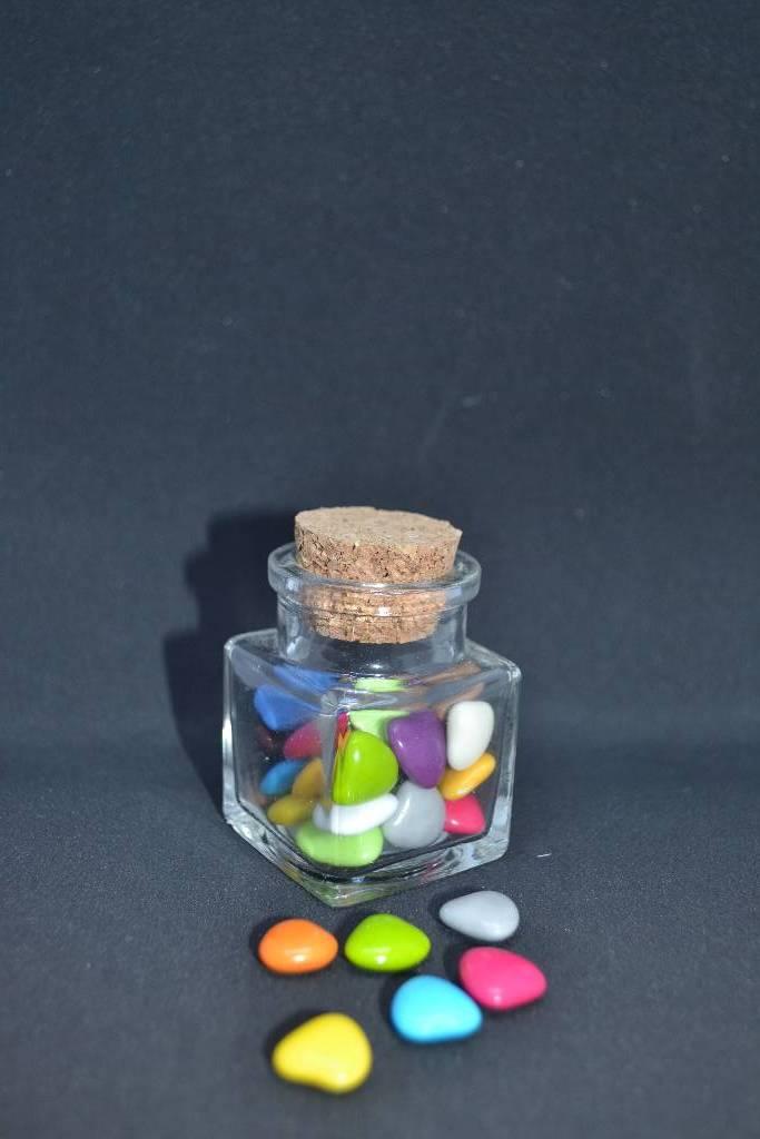 contenant à dragée en verre forme carré   festival de la dragée