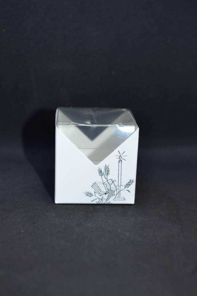 Boite cube à dragées de communion festival de la dragée