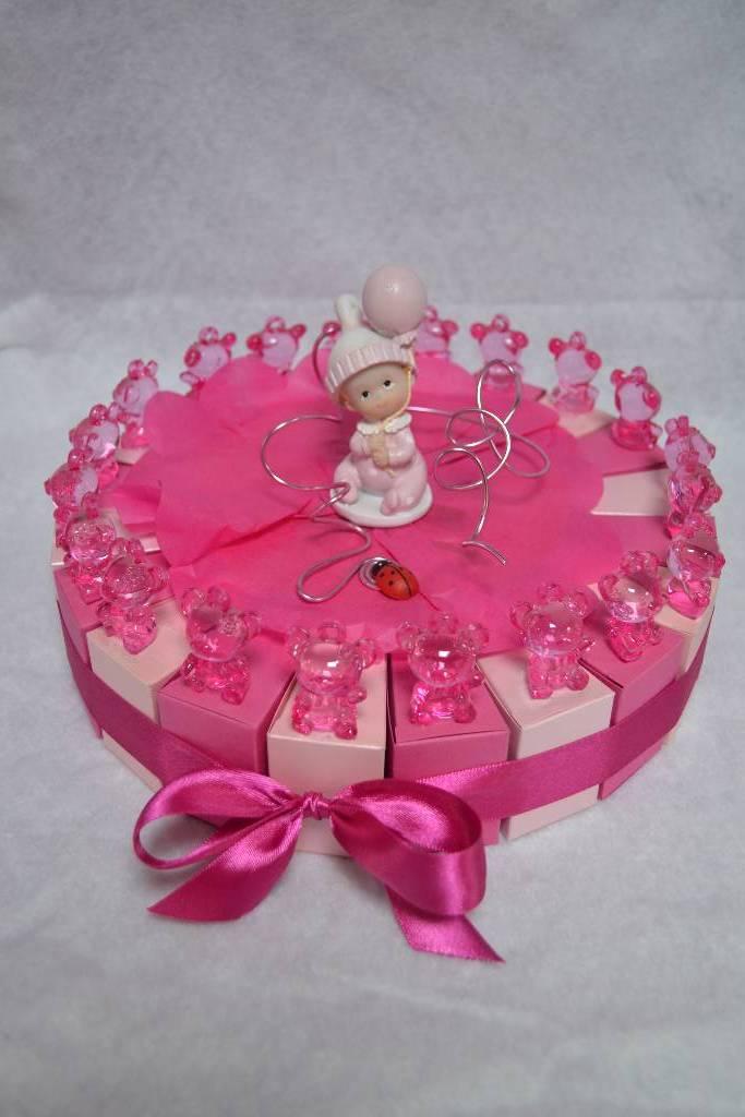 Gâteau de baptême dragées rose bébé et ourson festival de la dragée