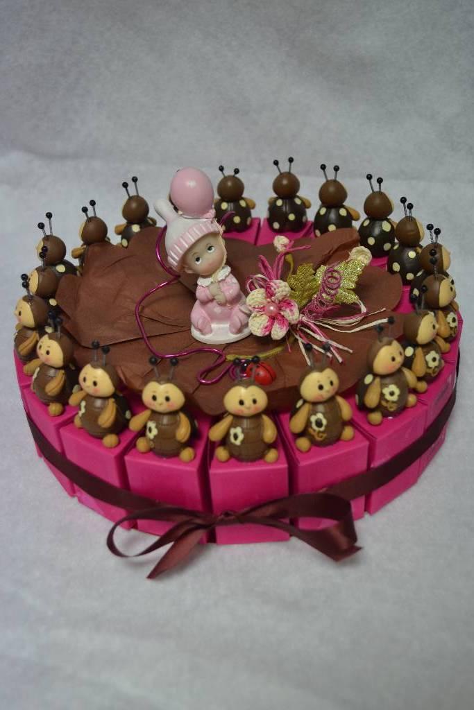kit à dragée gâteau de baptême coccinelle rose et marron festival de la dragée