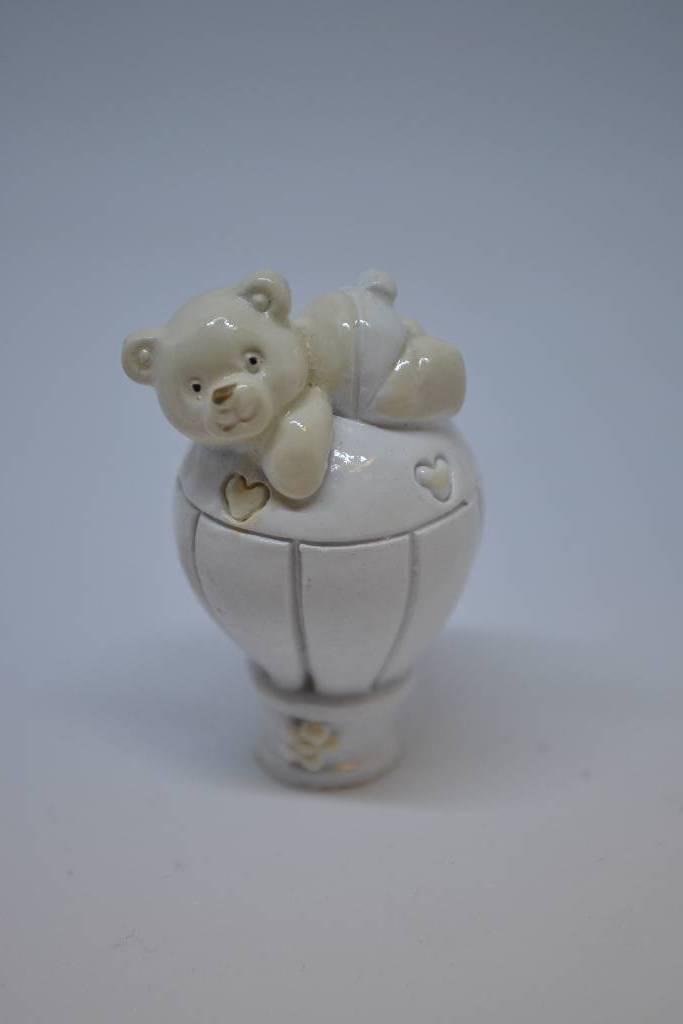 Figurine de baptême ourson ivoire festival de la dragée