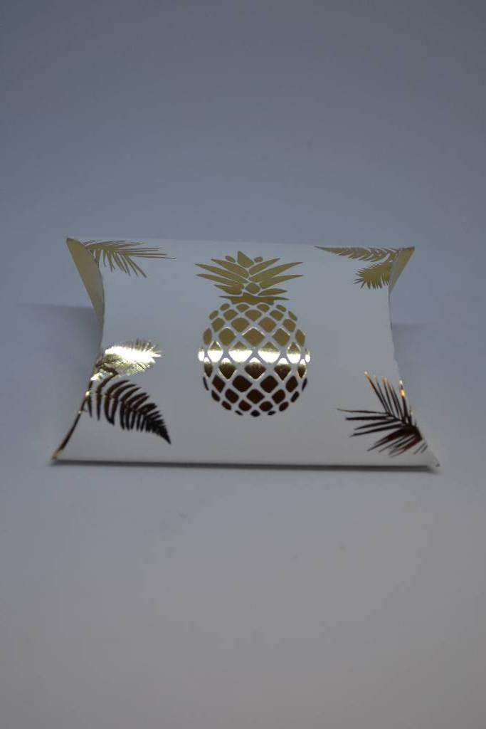 Ballotin à dragée sonia ananas blanc et or festival de la dragée
