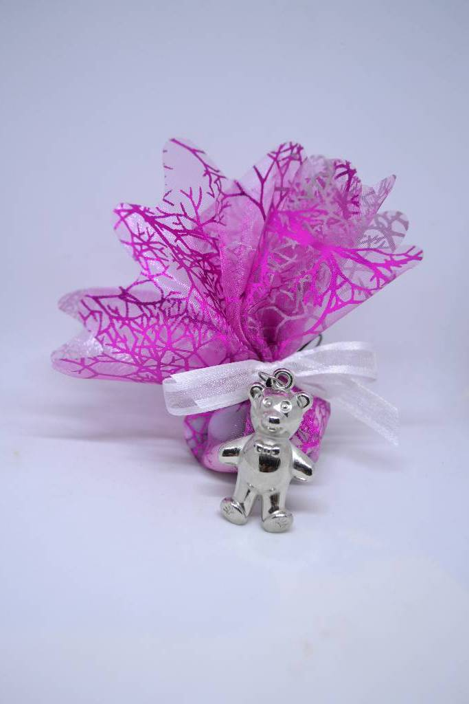 tulle à dragée baptême avec pendentif ourson le festival de la dragée